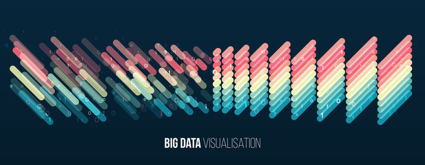 Big data visualization. Abstract background with lines array and binary code. Connection structure. Data array visual concept. Big data connection complex. Fotoväggar