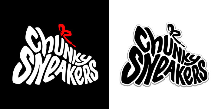 Chunky sneakers. Creative symbol of trendy dad ugly shoes. Vector funny lettering. Urban graffiti style. Black and white flexible text in the shape of sports footwear. Red bow tie of shoelace.