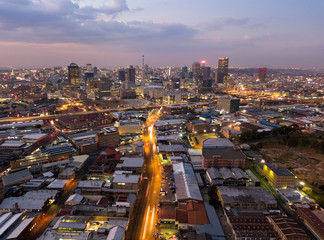 Poster Afrique Aerial view of downtown of Johannesburg, South Africa