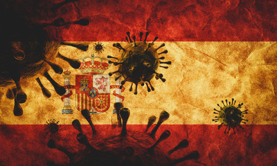 Coronavirus against Spain grunge flag. Virus causing epidemic