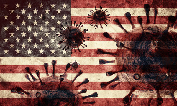 Coronavirus against the USA grunge flag. Virus causing epidemic in the United States