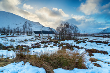 Wall Mural - A cottage in the snow at Glencoe