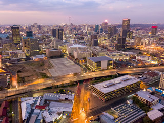 Wall Mural - Aerial view of downtown of Johannesburg, South Africa