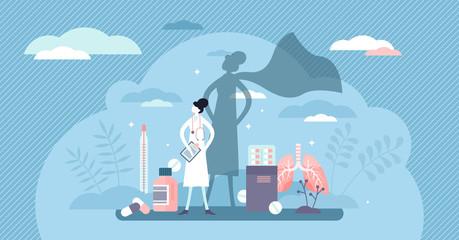 Nurse super hero concept, flat tiny person vector illustration