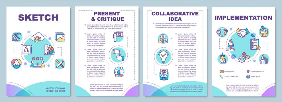 Creative process brochure template. Workshop method for teamwork. Flyer, booklet, leaflet print, cover design with linear icons. Vector layouts for magazines, annual reports, advertising posters