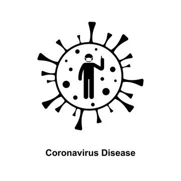 Coronavirus cell stick figure man pointing finger attention prevention caution icon sign symbol vector illustration pictogram. Stickman wearing mask to avoid virus infection silhouette set