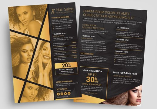 Hair Salon Flyer Layout with Black and Gold Theme