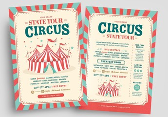 Circus Flyer Layout with Tent Illustration