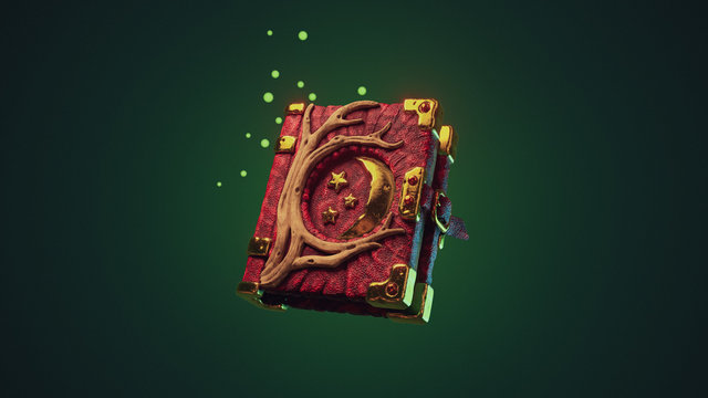 Old dark red antique book with strap. Magic book with leather cover, gold metal moon and tree roots. Mystery book of magic spells and witchcraft for computer game. 3d illustration on green background.