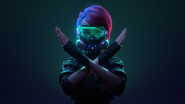 3d illustration of cyberpunk girl with pink hair in futuristic gas mask with protective green glasses and filters in leather jacket making x sign with crossed hands, gesturing stop, warning of danger.