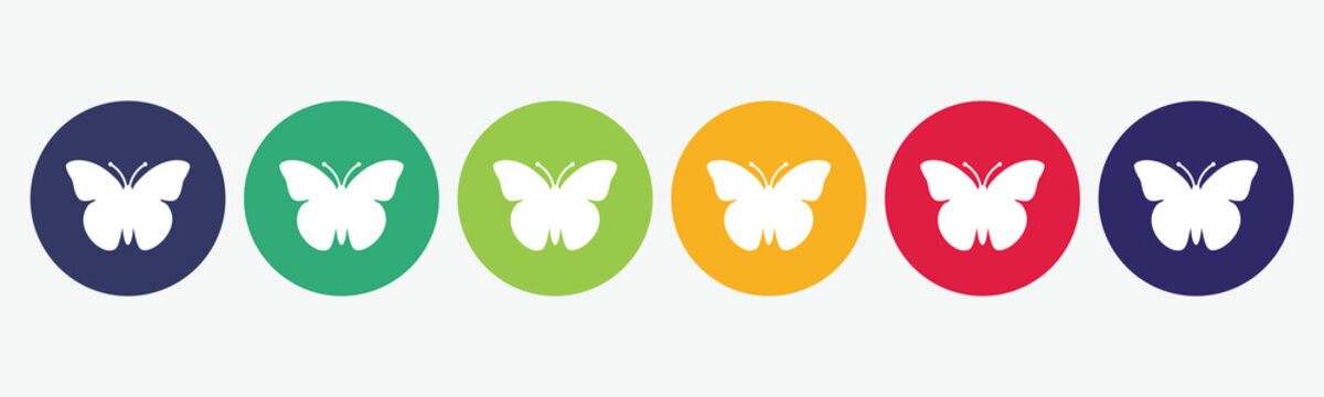 Vector set butterfly icon.
