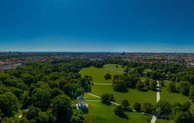 Munich from Above with panoramic copy space, English Garden in Springtime