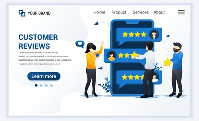 Customer reviews concept, People giving stars rating, feedback, satisfaction, and evaluation. Modern flat landing page template design for website and mobile website. Vector illustration