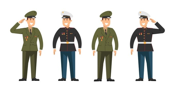 Set of military in full dress. Vector illustration in cartoon style