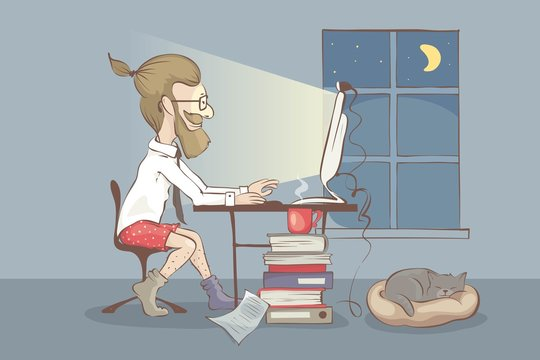 Working from home. Young man works on the computer on home, funny vector illustration. EPS 10.