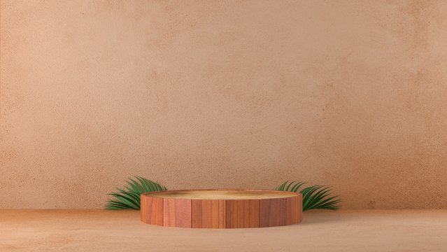 brown cylinder wood plank podium in brown wall concrete background. decor by palm, monstera leaves scene stage mockup showcase product, sale, banner, discount, cosmetic, offer. illustration 3d render