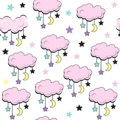 Pink clouds and stars on a white background seamless pattern