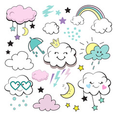 Cute clouds and stars on a white background collection