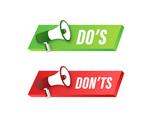 Dos and Donts like thumbs up or down. flat simple thumb up symbol minimal round logotype element set graphic design isolated on white. Vector stock illustration.