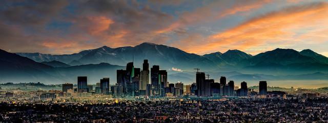 Fototapete - Los Angeles Skyline Sunrise