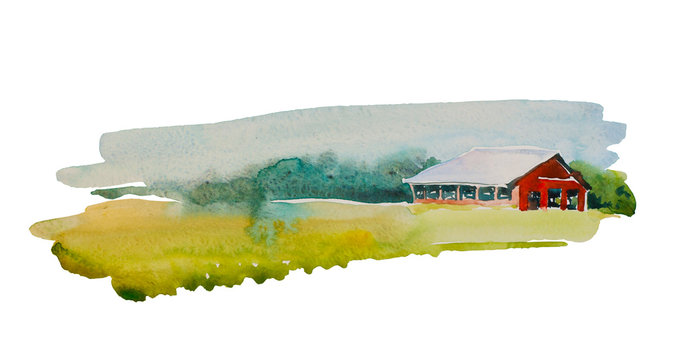Traditional Vintage Red Farm barn. Original simple watercolor backdrop illustration of agricultural building in the meadow