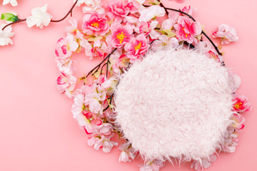 Colorful digital floral background for newborn photography. Wall mural