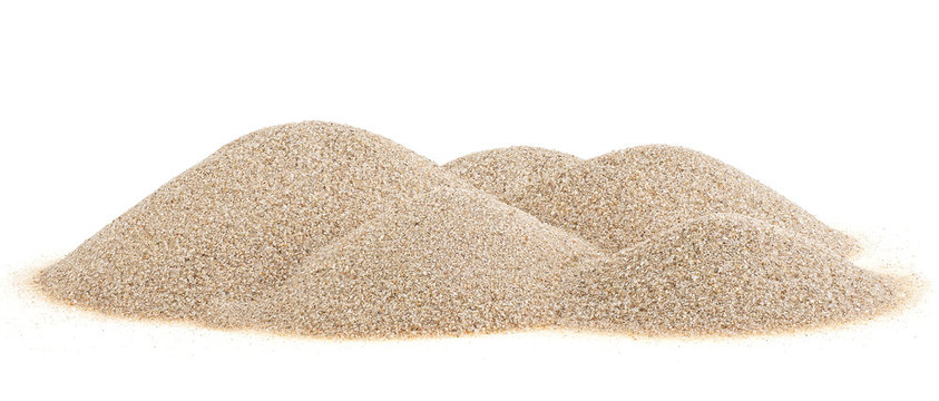 Pile desert sand dunes isolated on a white background