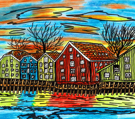 Colored Houses in Norway, Hand Drawn Ink and Lead Pencil Drawing