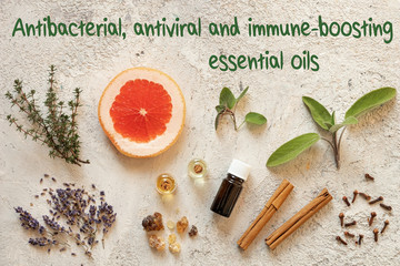 Selection of antibacterial, antiviral and immune-boosting essential oils