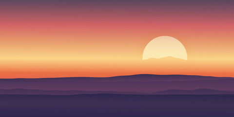 Fotobehang Aubergine Vector illustration Dramatic morning sunrise with sky line in orange yellow and magenta mountains background.Template design for product or advertising, travel or nature display backdrop and banner