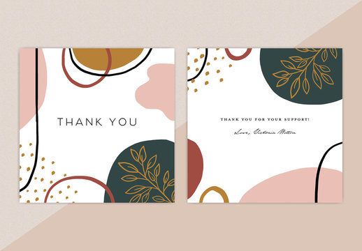 Abstract Thank You Card Template Design