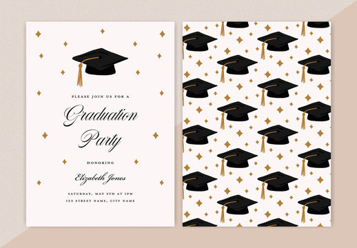 Graduation Party Invitation Layout with Cap Pattern Element
