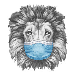 Portrait of Lion with face mask. Hand-drawn illustration.