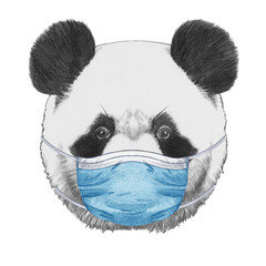 Portrait of Panda with face mask. Hand-drawn illustration.