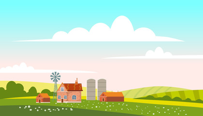 Lovely Countryside landscape village farm green hills fields, nature, bright color blue sky