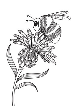 Antistress doodle coloring book page for adult. Bumblebee on the flower. Zentangle insect black and white illustration.