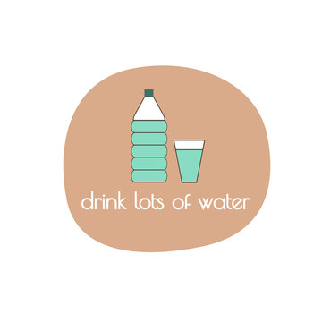 Waterbottle and Glass Illustration with Drink lots of water text