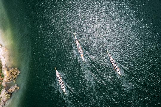 Dragon boat race overhead shot