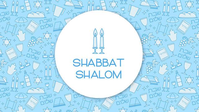 "Shabbat blue background. Star of David, candles, kiddush cup and challah. Hebrew text ""Shabbat Shalom"". Vector illustration."