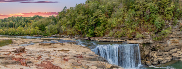 Aluminium Prints Forest river Cumberland Falls in autumn