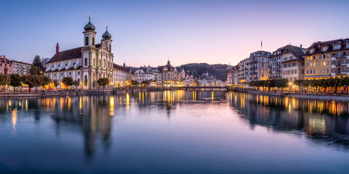Jesuit church in the old town of Lucerne, Switzerland
