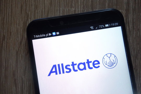 KONSKIE, POLAND - AUGUST 11, 2018: Allstate logo displayed on a modern smartphone