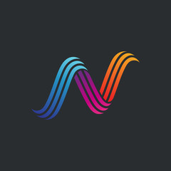 letter N colorful stripes logo design, creative initial letter n logo template for business company and brand identity