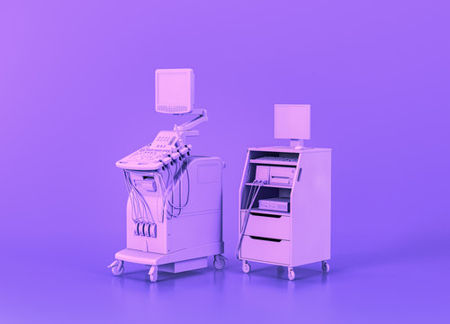 ultrasound machine and vitals monitor, Medical equipment in flat monochrome purple room, 3d rendering