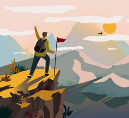 Foto auf Gartenposter Dunkelbraun A traveler man on top of a mountain with a backpack and a flag triumphantly raised his hand and looking on valley. The concept of travel, hikes, discoveries, exploration, adventure tourism and travel