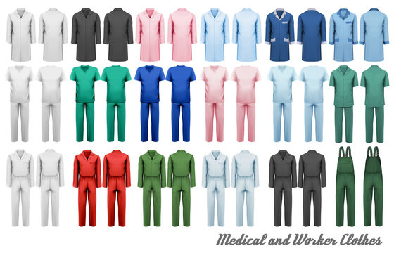 Big collection of medical and worker clothes. Vector illustration