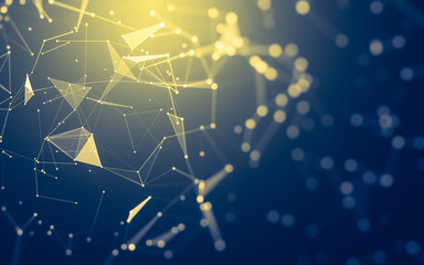 Abstract background. Molecules technology with polygonal shapes, connecting dots and lines....