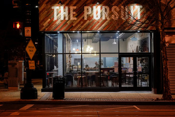 Only staff is seen at The Pursuit after the city ordered restaurants to make food for delivery or pickup due to the global coronavirus disease (COVID-19) outbreak in Washington