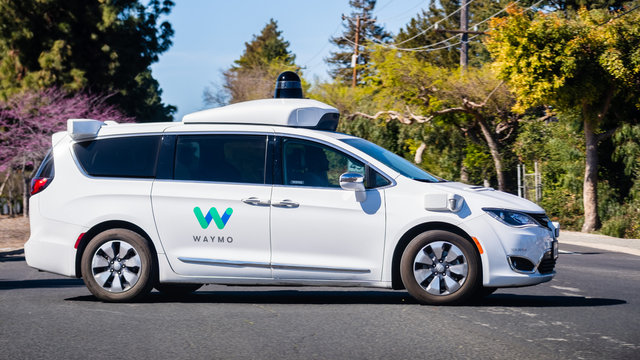 March 2, 2020 Mountain View / CA / USA - Waymo self driving car performing tests on a street near Google's offices, Silicon Valley; Waymo, a subsidiary of Alphabet, is developing an autonomous car