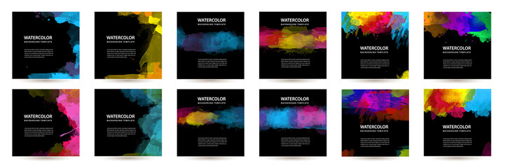 Fotobehang - Big set of bright vector colorful watercolor on vertical black background for poster or flyer